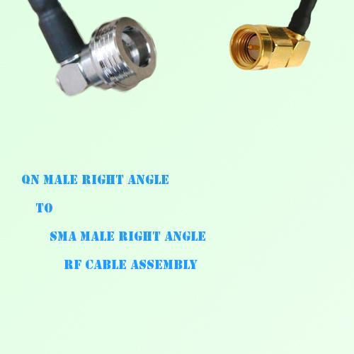 QN Male Right Angle to SMA Male Right Angle RF Cable Assembly