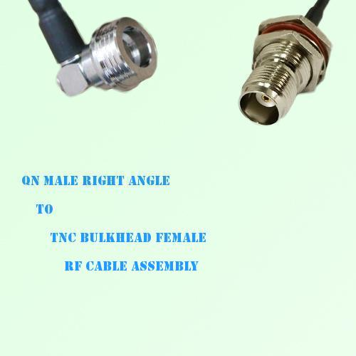 QN Male Right Angle to TNC Bulkhead Female RF Cable Assembly