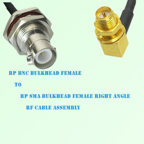 RP BNC Bulkhead Female to RP SMA Bulkhead Female R/A RF Cable Assembly