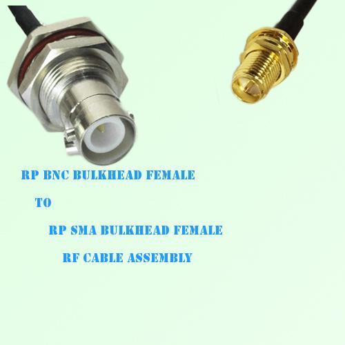 RP BNC Bulkhead Female to RP SMA Bulkhead Female RF Cable Assembly