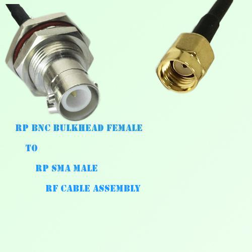 RP BNC Bulkhead Female to RP SMA Male RF Cable Assembly