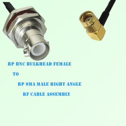 RP BNC Bulkhead Female to RP SMA Male Right Angle RF Cable Assembly