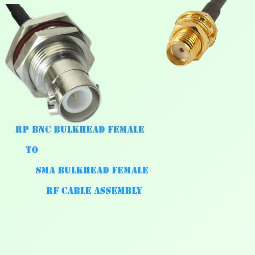 RP BNC Bulkhead Female to SMA Bulkhead Female RF Cable Assembly