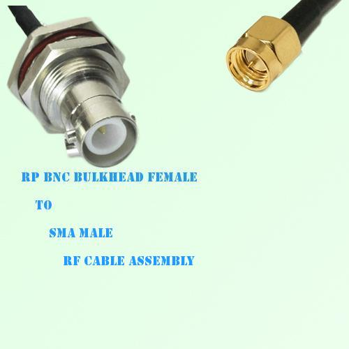 RP BNC Bulkhead Female to SMA Male RF Cable Assembly