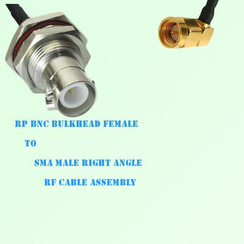 RP BNC Bulkhead Female to SMA Male Right Angle RF Cable Assembly