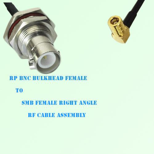 RP BNC Bulkhead Female to SMB Female Right Angle RF Cable Assembly
