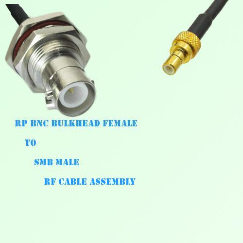 RP BNC Bulkhead Female to SMB Male RF Cable Assembly