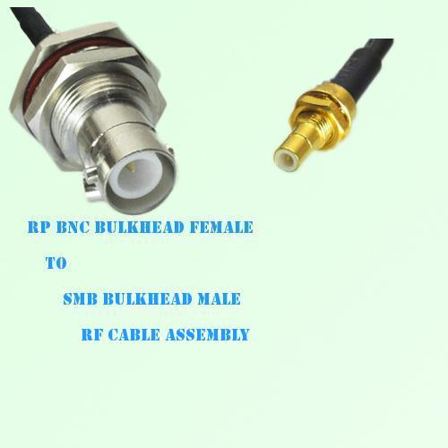 RP BNC Bulkhead Female to SMB Bulkhead Male RF Cable Assembly