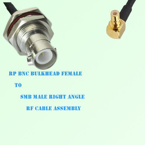 RP BNC Bulkhead Female to SMB Male Right Angle RF Cable Assembly