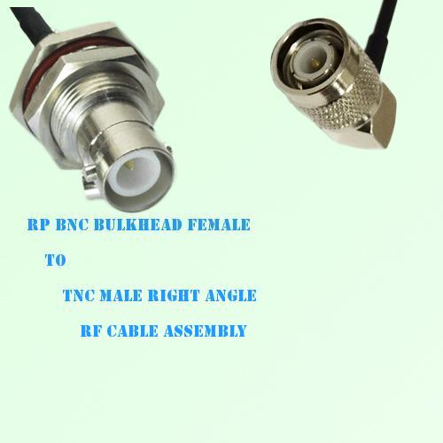 RP BNC Bulkhead Female to TNC Male Right Angle RF Cable Assembly