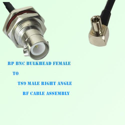 RP BNC Bulkhead Female to TS9 Male Right Angle RF Cable Assembly