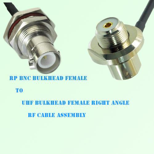 RP BNC Bulkhead Female to UHF Bulkhead Female R/A RF Cable Assembly