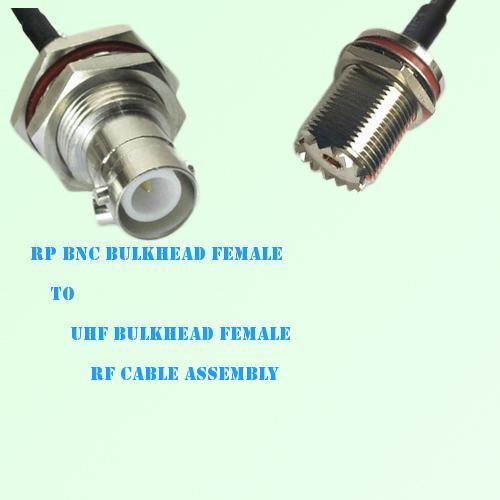 RP BNC Bulkhead Female to UHF Bulkhead Female RF Cable Assembly