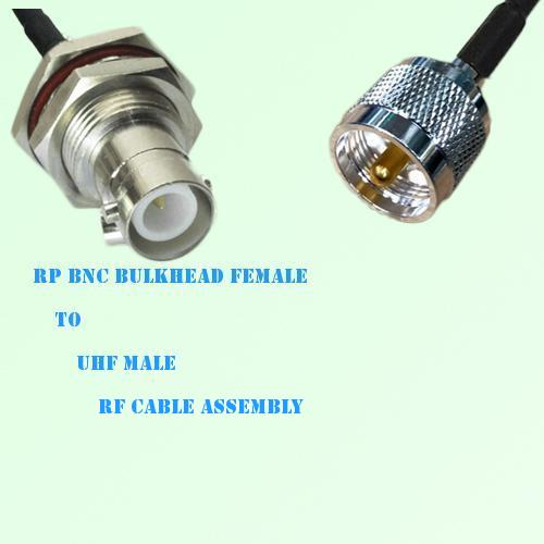 RP BNC Bulkhead Female to UHF Male RF Cable Assembly