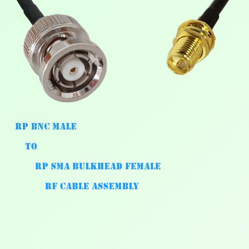 RP BNC Male to RP SMA Bulkhead Female RF Cable Assembly
