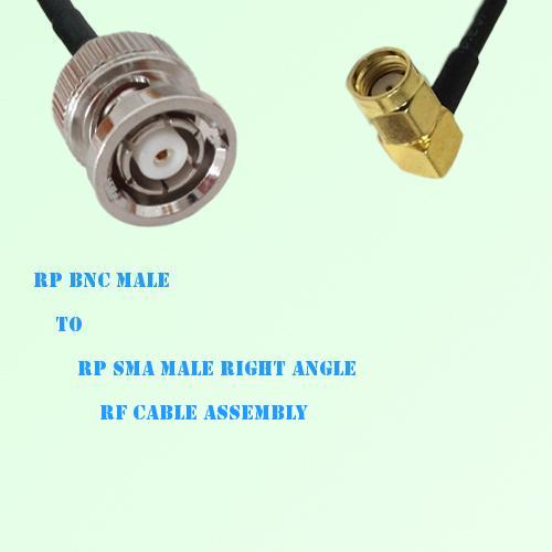 RP BNC Male to RP SMA Male Right Angle RF Cable Assembly
