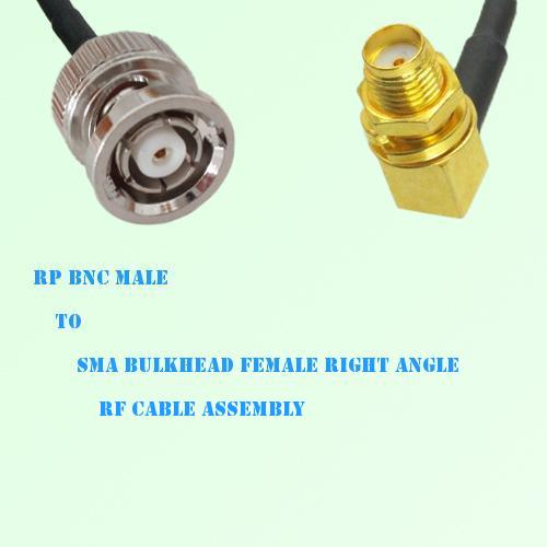 RP BNC Male to SMA Bulkhead Female Right Angle RF Cable Assembly