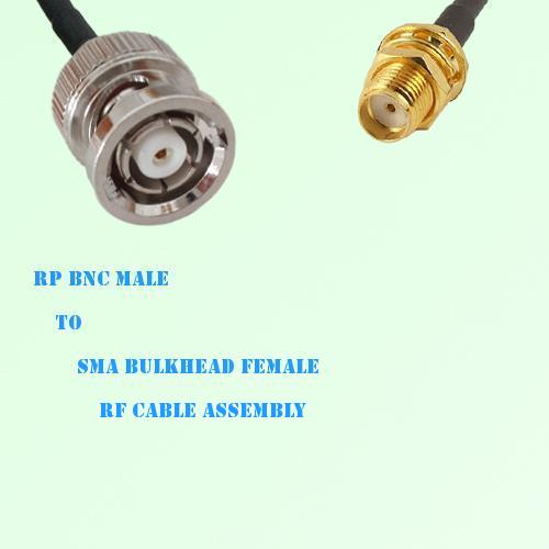 RP BNC Male to SMA Bulkhead Female RF Cable Assembly