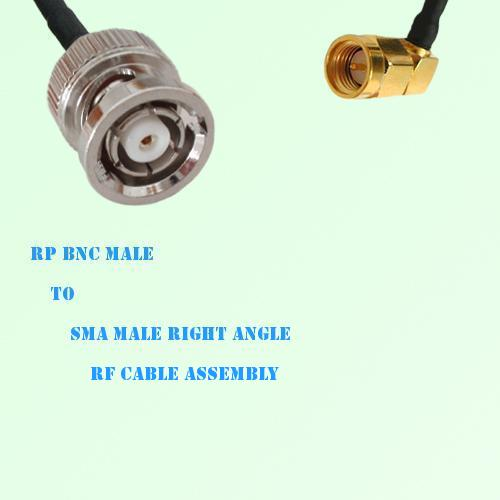 RP BNC Male to SMA Male Right Angle RF Cable Assembly