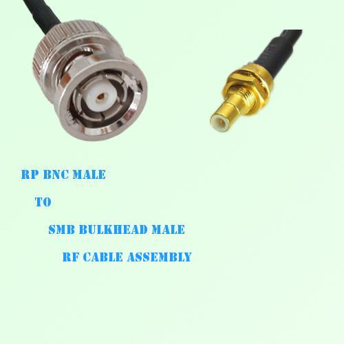 RP BNC Male to SMB Bulkhead Male RF Cable Assembly