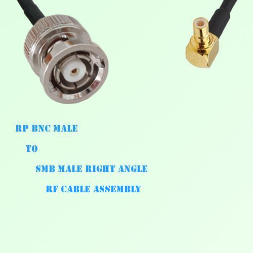 RP BNC Male to SMB Male Right Angle RF Cable Assembly