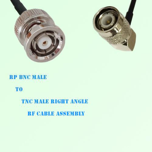 RP BNC Male to TNC Male Right Angle RF Cable Assembly