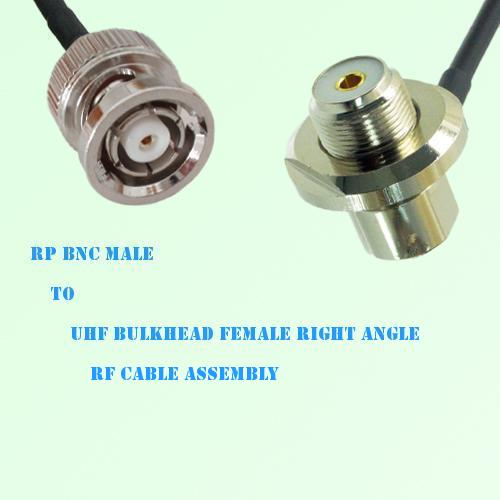 RP BNC Male to UHF Bulkhead Female Right Angle RF Cable Assembly