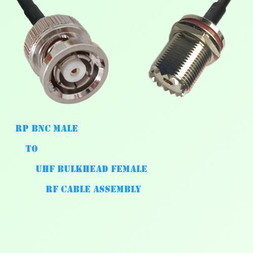 RP BNC Male to UHF Bulkhead Female RF Cable Assembly