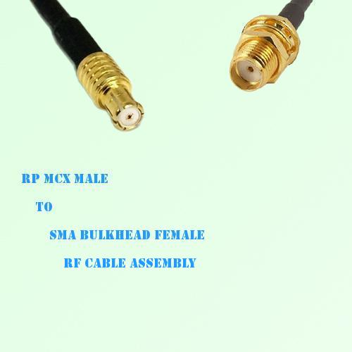 RP MCX Male to SMA Bulkhead Female RF Cable Assembly