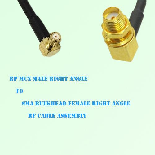 RP MCX Male R/A to SMA Bulkhead Female R/A RF Cable Assembly