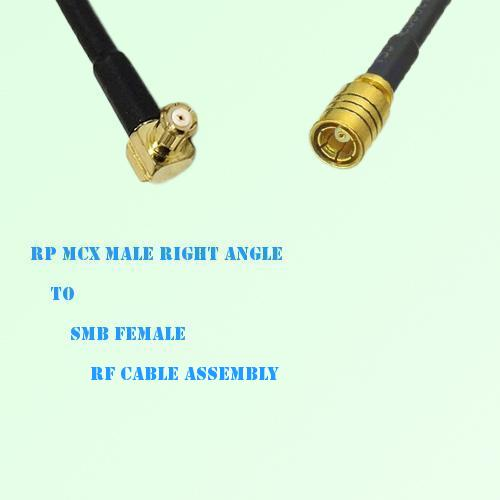 RP MCX Male Right Angle to SMB Female RF Cable Assembly