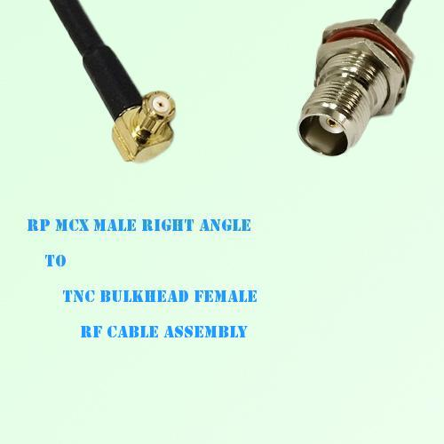 RP MCX Male Right Angle to TNC Bulkhead Female RF Cable Assembly