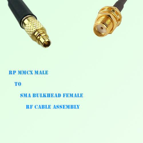 RP MMCX Male to SMA Bulkhead Female RF Cable Assembly