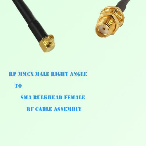 RP MMCX Male Right Angle to SMA Bulkhead Female RF Cable Assembly