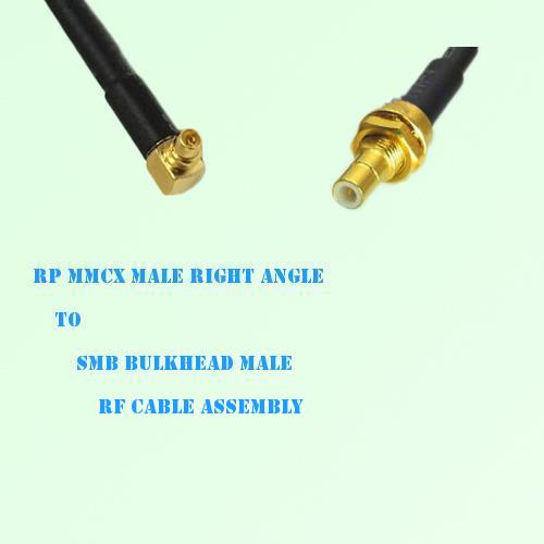 RP MMCX Male Right Angle to SMB Bulkhead Male RF Cable Assembly