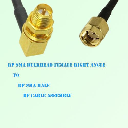 RP SMA Bulkhead Female Right Angle to RP SMA Male RF Cable Assembly