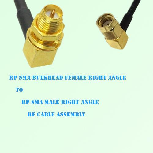 RP SMA Bulkhead Female R/A to RP SMA Male R/A RF Cable Assembly