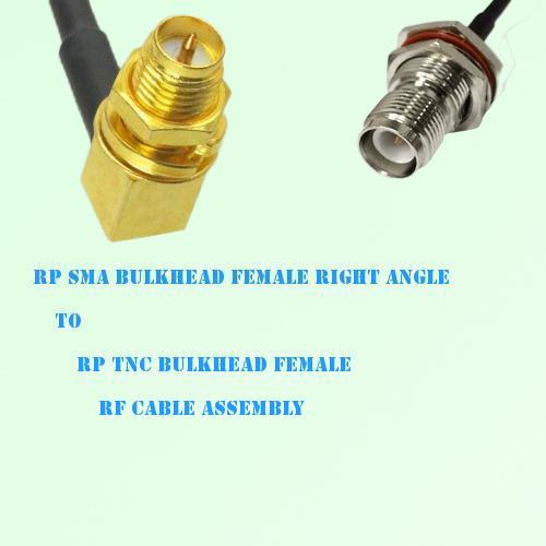 RP SMA Bulkhead Female R/A to RP TNC Bulkhead Female RF Cable Assembly