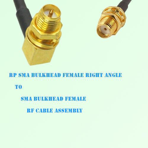 RP SMA Bulkhead Female R/A to SMA Bulkhead Female RF Cable Assembly