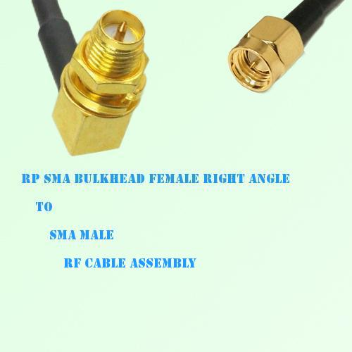 RP SMA Bulkhead Female Right Angle to SMA Male RF Cable Assembly