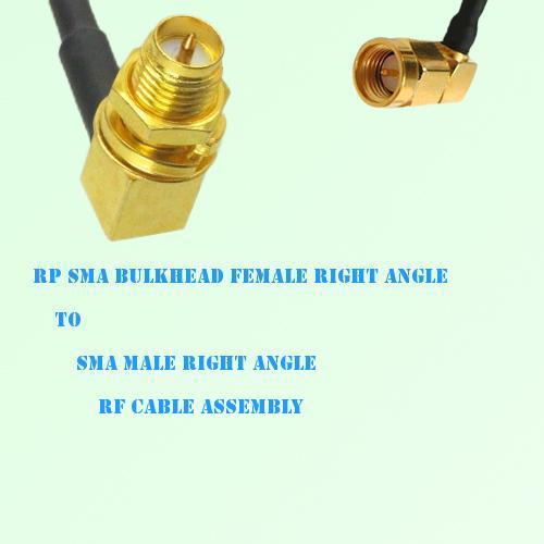 RP SMA Bulkhead Female R/A to SMA Male R/A RF Cable Assembly