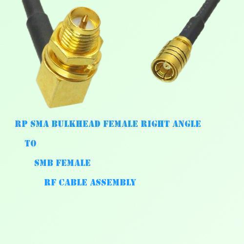RP SMA Bulkhead Female Right Angle to SMB Female RF Cable Assembly