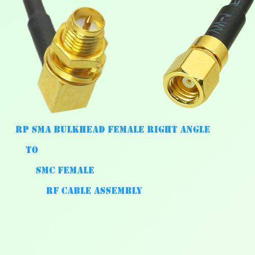 RP SMA Bulkhead Female Right Angle to SMC Female RF Cable Assembly