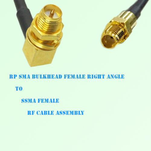 RP SMA Bulkhead Female Right Angle to SSMA Female RF Cable Assembly