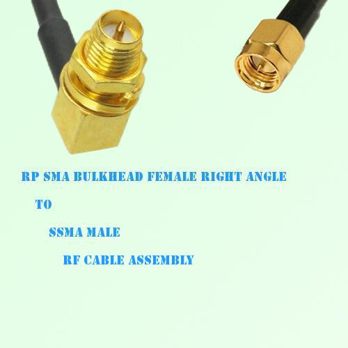 RP SMA Bulkhead Female Right Angle to SSMA Male RF Cable Assembly