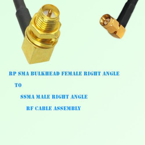 RP SMA Bulkhead Female R/A to SSMA Male R/A RF Cable Assembly
