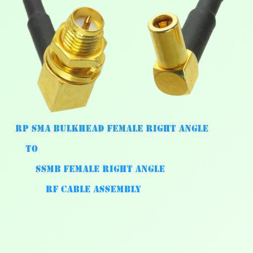 RP SMA Bulkhead Female R/A to SSMB Female R/A RF Cable Assembly