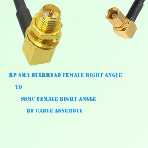 RP SMA Bulkhead Female R/A to SSMC Female R/A RF Cable Assembly
