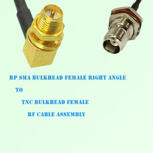 RP SMA Bulkhead Female R/A to TNC Bulkhead Female RF Cable Assembly