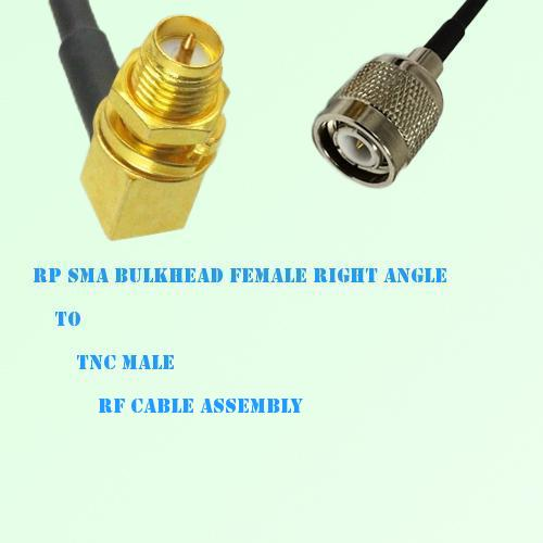 RP SMA Bulkhead Female Right Angle to TNC Male RF Cable Assembly